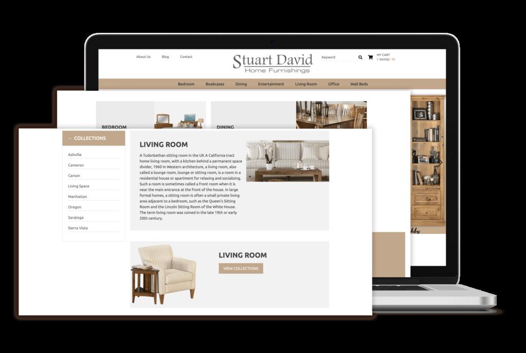 Stuart David Portfolio - website for e-commerce